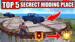NEW TOP 5 SECRECT HIDDING PLACE IN FREE FIRE // RANK PUSHING SECRECT HIDDEN PLACE
