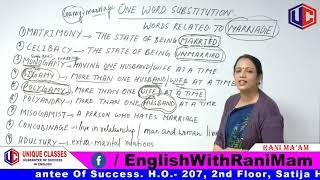 One Word Substitution | Words Related to MARRIAGE | English Grammar By Rani Mam For SSC CGL, Bank PO