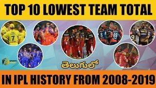 Lowest Team Total In IPL History | Top 10 Teams With Lowest Team Total In IPL | In Telugu