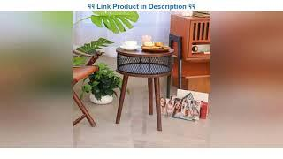 Top 10 BATHWA Industrial Round End Table, Side Table with Metal Storage Basket, Vintage Accent Tabl
