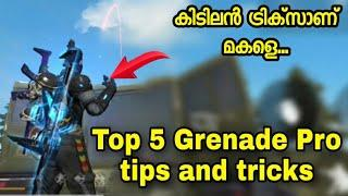 Top 5 Grenede Pro tips and tricks Free Fire | Free Fire tips and tricks Malayalam | Garena Free Fire