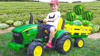 Darius Rides on Tractor  Kids Pretend Play riding on Truck Toys gathering watermelon