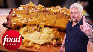 Guy Fieri Is Impressed By Massive Ribs Drenched In Queso | Diners, Drive-ins & Dives