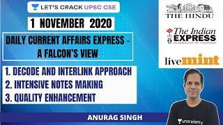 Daily Current Affairs Express | 1-November-2020 | Crack UPSC CSE/IAS 2021 | Anurag Singh