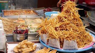 부산에서 인기있는 떡볶이집 / Stir-Fried Rice Cake, Various fries - tteokbokki / korean street food