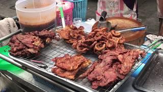 SMOKED PORK BELLY BBQ || Colourful Street Food & Thai Food || Walking Tour Bangkok