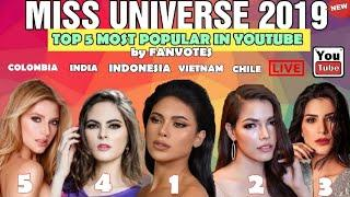 MISS UNIVERSE 2019 TOP 5 MOST POPULAR IN YOUTUBE COMMUNITY ONLINE VOTES/ MISS  UNIVERSE 2019 UPDATES