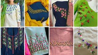 Top 65 beautiful hand embroidery necklines ideas/flower embroidery design/zari vlog fashion & beauty