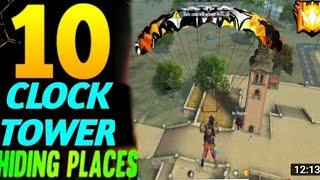 CLOCK TOWER HIDE PLACE IN FREE FIRE ! TOP 10 HIDE PLACE IN BERMUDA ! RANK PUSH TIPS ! Game knowledge