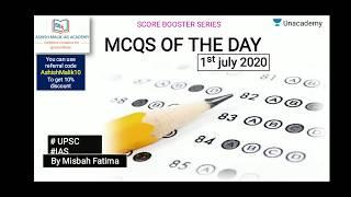 1st JULY 2020 Top 10 MCQs based for Prelims 2020/21