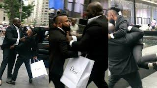 Security guard throws guy a mile!