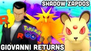 Giovanni returns w/ Shadow Zapdos in Pokemon GO   Best Pokémon to use