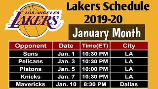 Lakers Schedule of January Month, 2020