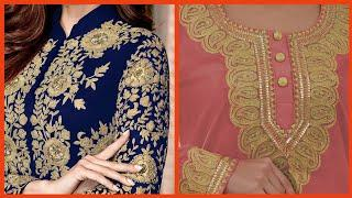 Embellished Top10! Beautiful Zari work And Gotta work designs For girls and women dresses,,..