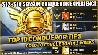 Top 10 Tips To Get Conqueror Easily In 2 Weeks || Solo Tpp Asia Season 15 Conqueror || Pubg Mobile