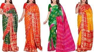 Bandhani Multicolor Sarees With Gota Patti Work   Traditional Bandhej Saree Collection (2021)