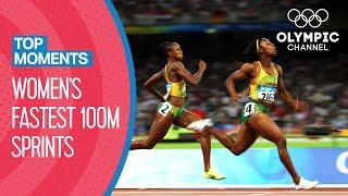 Top 10 Fastest Women's 100m Sprint in Olympic History | Top Moments