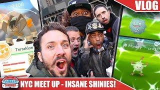 I HACKED POKÉMON GO... 3 SHINIES & 98% TERRAKION IN 2 HOURS - NYC YOUTUBER MEET UP | POKÉMON GO VLOG