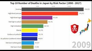 Top 10 number of deaths in Japan by Risk Factor