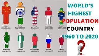 TOP 10 HIGHEST POPULATION COUNTRY 1960 TO 2020 WITH MOUMILOUD RESEARCH MEDIA |  COUNTRY WISE PEOPLE