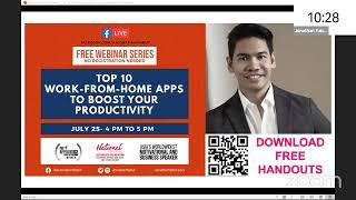 "1-Hour Webinar - ""Top 10 Work From Home Apps To Boost Your Productivity"" by Jonathan Yabut"