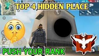 TOP 4 HIDDEN PLACE IN FREE FIRE || PUSH YOUR RANK TO HEROIC || BEST HIDDEN PLACE IN FREE FIRE.