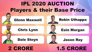 IPL 2020 Auction : Top Players & Their Base Price | Indian Premier League