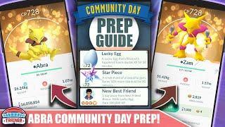 START NOW! TOP TIPS FOR SHINY *ABRA* COMMUNITY DAY PREP - 3X XP & ALAKAZAM   POKÉMON GO