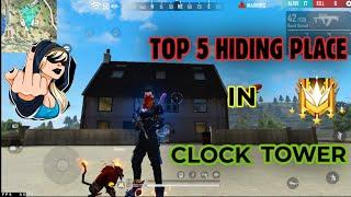CLOCK TOWER HIDE PLACE IN FREE FIRE ! TOP 5 HIDE PLACE IN BERMUDA ! RANK PUSH TIPS