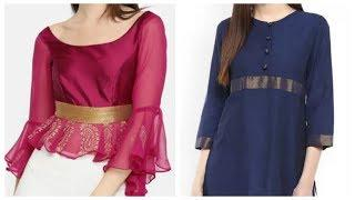 Top 10 classy plain kurti design ideas,office wear kurti designs,ethnic short tunic designs