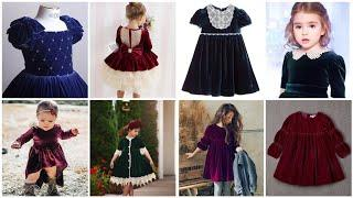 Top Trendy 32 Latest velvet Frocks Designs For kids/1 to 10 year Girls Frocks Designs