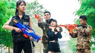 XGirl Nerf War: X Girl Rescuing Cherry ! SEAL US Nerf Guns Fight Criminal Team