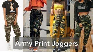Jogger Pant Design For Girls |Army Print Pants Design 2021 |Joggers Design Haul |Top & Jogger Design