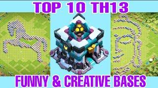 TOP 10 TH13 FUNNY/TROLL BASES 2020 WITH LINK | TH13 BEST FUNNY & CREATIVE BASES - Clash with kvn
