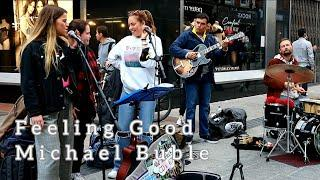 WATCH WHEN GIRLS JOIN JAM SESSION ON THE STREET | Michael Buble-Feeling Good | Allie Sherlock Cover
