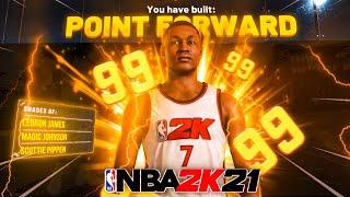I found the BEST POINT FORWARD BUILD in NBA 2K21! BEST 55 BADGE POINT FORWARD BUILD NBA 2K21..