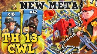 Town Hall 13 CWL Attack For 2020! Queen Charge Hogs + Miner Smashing 3 Star TH13 vs Aphelion Esport