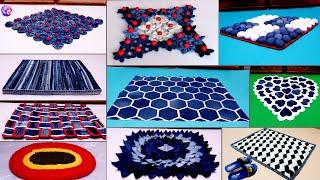 10 Doormat Making at Home || Jeans Old Clothes Reuse Idea || DIY Jeans
