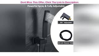 Top 10 DoBrass Black Shower System with Tub Spout, Waterfall Shower Faucet Set Complete with Pre-em