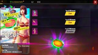 Beach Party Top Up 500 Get Pen Watermelon, Wicked Coconut BackPack | Free Fire New Top Up Event
