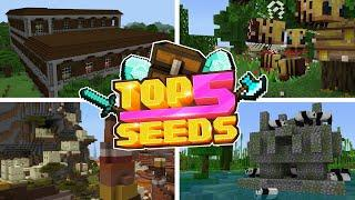 Minecraft Bedrock | TOP 5 BEST SEEDS | Exposed Dungeons & Strongholds! (PE, Xbox, PS4, Switch & W10)