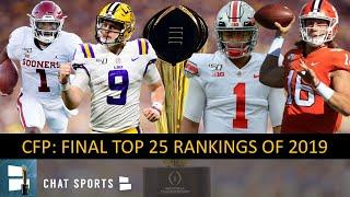 College Football Playoff Top 25: Final Rankings & New Year's 6 Bowls For 2019 CFB Season