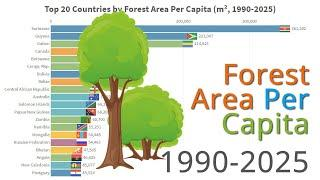 Forest Area Per Capita, Top 20 Countries (m², 1990-2025)