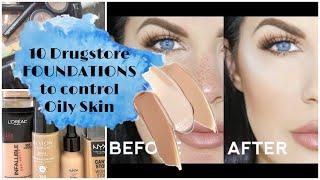 Top 10 affordable drugstore FOUNDATIONS to control oily skin | available in Pakistan/India oily skin