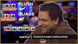Best Poker QUADS Compilation - A Four Of A Kind Video!