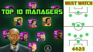 10 BEST MANAGERS TO WIN EVERY MATCHES IN PES 20 MOBILE | TOP MANAGERS WITH FORMATION & DETAILS |
