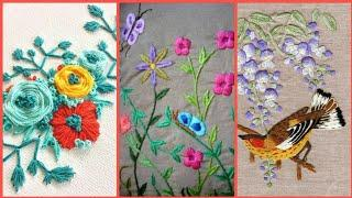 Top Amazing Modern Color Full Amazing Hand embroidery Designs | Different Embroidered Flower Design