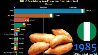 Yam Production Ranking | TOP 10 Country from 1961 to 2018
