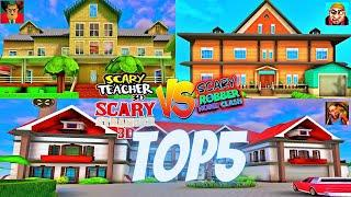 TOP 5 Scary Stranger 3D House VS Scary Teacher 3D House VS Scary Robber Home Clash House KIDS GAME