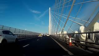Winter Road Trip Drive North Over Queensferry Crossing Firth Of Forth Scotland